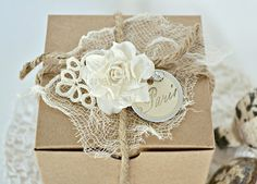 burlap and lace wrapping