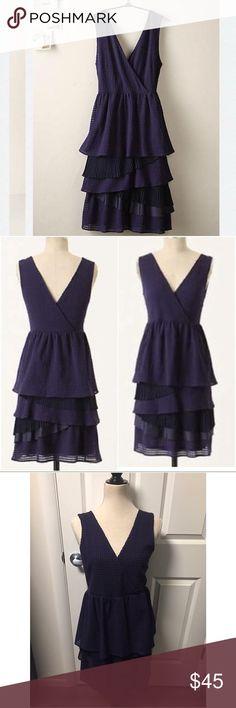 Anthropologie Ric Rac tonal gingham dress size M Lovely layered dress EUC Anthropologie Dresses