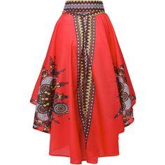 Women Vintage Floral Print Irregular High Waist Skirt ($20) ❤ liked on Polyvore featuring skirts, floral pattern skirt, red vintage skirt, evening skirts, print skirt and flower print skirt