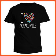 Idakoos I love Monaco Ville colorful hearts - Cities - T-Shirt - Cities countries flags shirts (*Partner-Link)
