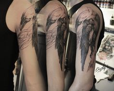 Raven tattoo on shoulder blackwork by Vasiliy Arhipov