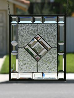 Starshine Clear Stained Glass Window Panel With Faceted Bevels