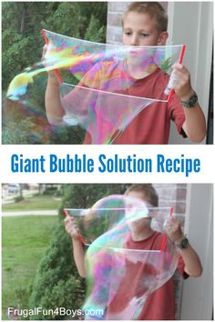 Recipe for Giant Bubble Solution. Use straws and string to make these awesome bubble frames!
