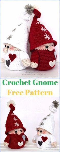 Crochet Gnome Free Pattern - migurumi Crochet Christmas Softies Toys Free Patterns Free Christmas Crochet Patterns, Free Crochet Patterns Toys, Angel Crochet Pattern Free, Crochet Santa, Crotchet Patterns, Crochet Gifts, Cute Crochet, Baby Knitting Patterns, Crochet Fox