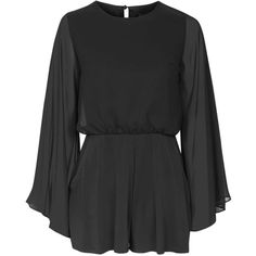TOPSHOP Angel Sleeve Romper ($70) ❤ liked on Polyvore featuring jumpsuits, rompers, playsuits, black, black rompers, black fitted romper, playsuit romper, topshop romper and fitted romper