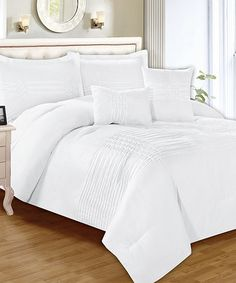 This White Astoria Five-Piece Pleated Pin-Tuck Comforter Set is perfect! #zulilyfinds