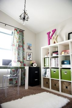 curtains: while bold I think they are fun. also chair, plants, mood board, trash can, nesting doll