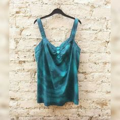 Teal Vest Top Tie Dye Womens to fit UK size 16 or US size 12 Winter Trends Christmas Party Gifts for Her