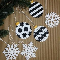 Christmas Ornament and Snowflake Ornament out of Perler Beads - DI . - Christmas Ornament and Snowflake Ornament out of Perler Beads – DIY Advent and Christmas – - Hama Beads Design, Diy Perler Beads, Hama Beads Patterns, Perler Bead Art, Beading Patterns, Christmas Perler Beads, Beaded Christmas Ornaments, Snowflake Ornaments, Christmas Crafts