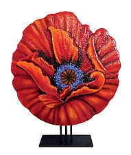 "Red Empress Poppy by Anne Nye (Art Glass Sculpture) (27"" x 20"")"