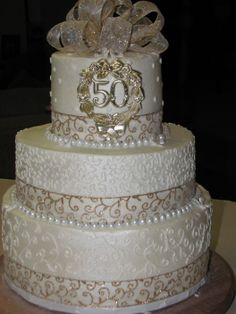 50TH WEDDING ANNIVERSARY - THREE TIER BUTTERCREAM WITH PEARL CHOCOLATE CANDY