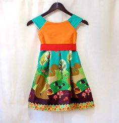 Squirrels Forest Girl Dress  Toddler Dress  Summer by LoopsyBaby