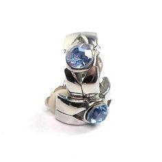 Earrings-clip-on-silvertone-fat-half-hoop-big-light-blue-rhinestone