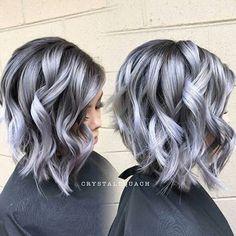 heavy layered gray hair