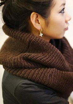 Warm Winter Knit Infinity Scarf Chocolate