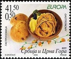 Stamp: Food on Plate (Serbia and Montenegro) (Europa (C.E.P.T.) 2005 - Gastronomy) Mi:YU 3269,Sn:RS 296