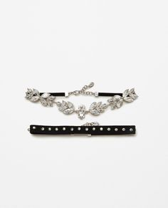 Image 1 of 2-PACK OF SHINY FLORAL CHOKERS from Zara