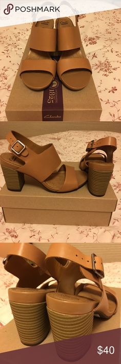 Clarks Banoy Tulia Beige Leather 6.5M NEW Clarks Banoy Tulia Beige Leather 6.5M 3in stacked heel. Clarks Shoes Sandals