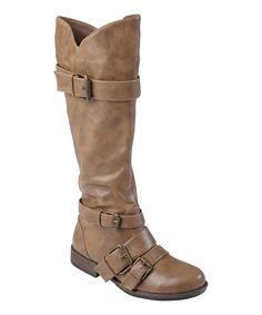 Take a look at this Hailey Jeans Co. Taupe Wide-Calf Rachel Boot on zulily today!