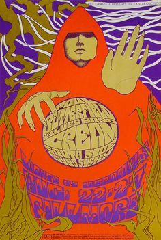 Poster: I Cream, The Paul Butterfield Blues Band and South Side Sound System at the Fillmore Auditorium, San Francisco , August, 1967 – artwork by Bonnie MacLean Rock Posters, Band Posters, Music Posters, Event Posters, Janis Joplin, Vintage Concert Posters, Vintage Posters, Grateful Dead, Pink Floyd