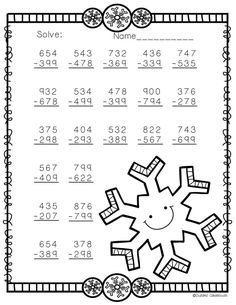 Need extra subtraction practice? These ten pages focus on three-digit subtraction. Most problems require regrouping. No prep, just print and go. There is an answer key included. Math Worksheets, Math Activities, Teaching Resources, 3rd Grade Math, Elementary Math, Math Centers, In Kindergarten, Silver Rings, Gold