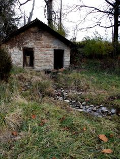 this is an old springhouse from a farm close to Charlestown Indiana