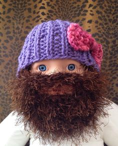 43c2aef3156 SALE Baby Bearded Beanie - Purple Hat and Pink Bow w Long Brown Fuzzy Beard  Jase