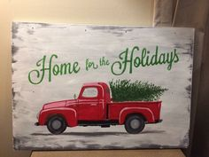 Red truck Christmas tree home for the holidays painted wood Christmas sign