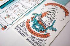 Love these hand-drawn nautical wedding invites!