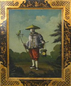 Chinese Man with Bird, Bob Christian Art.he even makes and paints his frames. On my want list! Chinoiserie Wallpaper, Chinoiserie Chic, Wall Wallpaper, Decoration, Art Decor, Interior Decorating Styles, Asian Decor, China Art, Historical Art