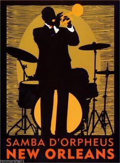 """new Orleans Jazz Big"" Art Deco Print Jazz Music Jazz for Sale Art Deco Posters, Vintage Travel Posters, Poster Prints, Photo Vintage, Vintage Art, New Orleans Jazz, Samba, Jazz Poster, Jazz Art"
