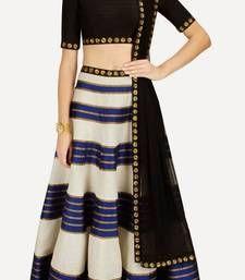 Buy Blue embroidered art silk unstitched lehenga choli lehenga-choli online