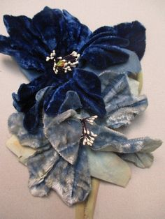 Embroidery On Clothes, Embroidery Jewelry, Ribbon Embroidery, Blue Velvet Dress, Velvet Flower, Couture Embroidery, Embroidery Fashion, Shabby Flowers, Fabric Flowers