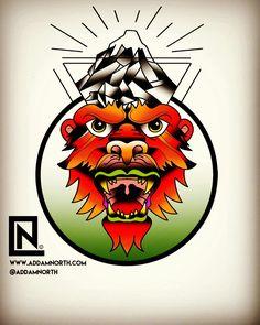 Monkey! Mountain! Tattoo Flash by Addam North