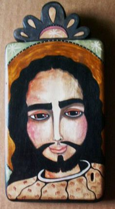 SOLD: Jesus / pigmented wood panel (retablo) by Virginia Maria Romero