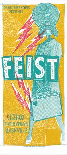 Print Mafia: Feist ( Nashville / Concert Poster / Indie Poster / Gig Poster / ScreenPrint / Silk Screen / Illustration )
