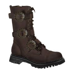 Brown Leather MENS SIZING Combat Boots Gothic Steampunk Boots Hardware Size: 8 - http://releasingsteam.com/brown-leather-mens-sizing-combat-boots-gothic-steampunk-boots-hardware-size-8/