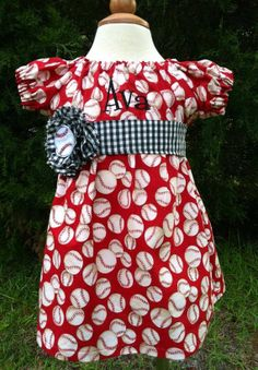 Red Baseball Peasant Dress Toddler and Girl by MudBugsBoutique, $32.00