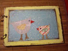 Agenda Scrap (Birds) realizada artesanalmente con distintos materiales. Tamaño: 22x15 cm aprox. Precio: 10 euros.