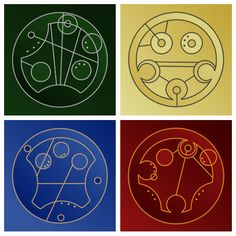 The Four Hogwarts Houses in Gallifreyan... Oh My Goodness Harry Potter AND Doctor Who..... I just ah!