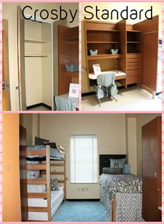 A Crosby Standard Room and a Crosby Corner Room are very similar. In a Standard Room, the built-in units and the closets are on the opposite walls. Built In Desk, Built Ins, College Room, College Life, Ole Miss Dorm Rooms, Hall Construction, Dorm Room Colors, Dorm Closet, Dorm Desk