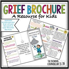 **Note: This brochure is included in my larger product Weathering the Storm of Grief Bundle**This brochure gives an overview of The 5 Stages of Grief as a way to help kids through the grieving process. It also includes a stress relief exercise and examples of activities to do as a way to find happiness again.Directions: Print double sided, fold on dotted lines.