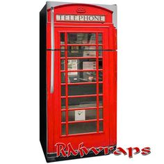 British Red Phone Booth Refrigerator wrap. Click on the image to order your door wrap