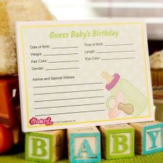 Great baby details guessing game which becomes keepsake for scrapbook.