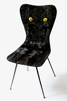 BLACK CAT - iron, wood, fur