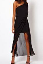 Black One-Shoulder Asymmetrical Bandeau Chiffon Dress