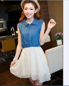 Apricot and Blue Korean Fashionable Denim Shirt and Chiffon Skirt 1