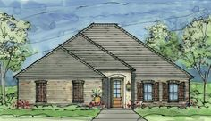 Creekwood House Plan- very nice. Built-ins in LR. Only 3 bedrooms, so may have to have basement for Ti's man cave or in-law suite. Has great features.