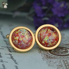 fire color space faux Opal Cufflinks,faux Opal Cufflinks - Groom cufflinks and tie clips (*Amazon Partner-Link)