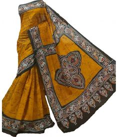 Brown Hand Batik Cotton Saree